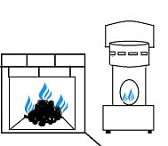 coal fire and paraffin heater