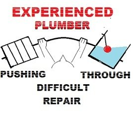 Experienced plumber pushing through